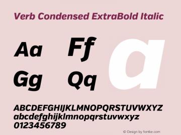 Verb Condensed ExtraBold Italic Version 2.002 2014 Font Sample