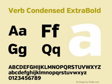 Verb Condensed ExtraBold Version 2.002 2014 Font Sample