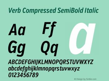 Verb Compressed SemiBold Italic Version 2.003 2014 Font Sample