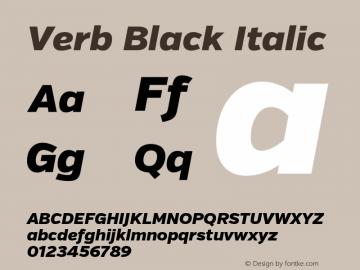 Verb Black Italic Version 2.002 2014 Font Sample