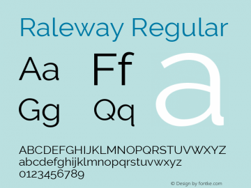 Raleway Regular Version 3.000 Font Sample