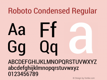 Roboto Condensed Regular Version 1.100140; 2013 Font Sample