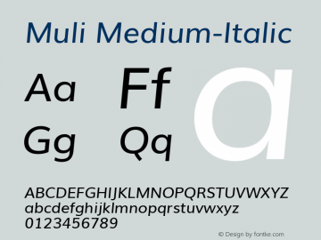 Muli Medium-Italic Version 1 ; ttfautohint (v0.94.23-7a4d-dirty) -l 8 -r 50 -G 200 -x 0 -w