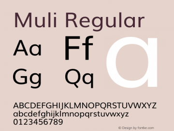 Muli Regular Version 2 Font Sample