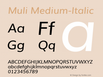 Muli Medium-Italic Version 1 ; ttfautohint (v0.94.23-7a4d-dirty) -l 8 -r 50 -G 200 -x 0 -w