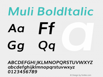 Muli BoldItalic Version 2.0 Font Sample