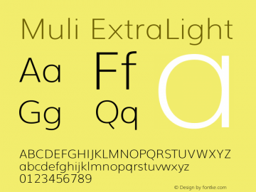 Muli ExtraLight Version 2 Font Sample