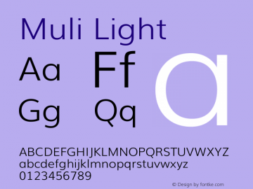Muli Light Version 2 Font Sample