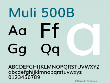 Muli 500B Version x ; ttfautohint (v0.94.23-7a4d-dirty) -l 8 -r 50 -G 200 -x 0 -w
