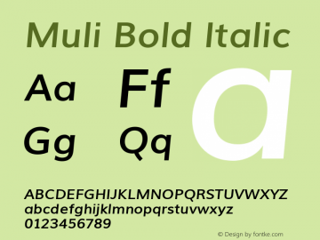 Muli Bold Italic Unknown Font Sample