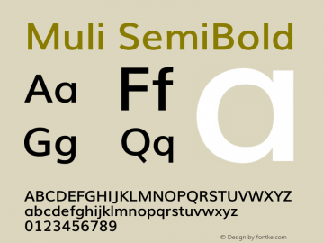 Muli SemiBold Version 2 Font Sample