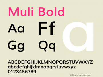 Muli Bold Version 1.0 Font Sample