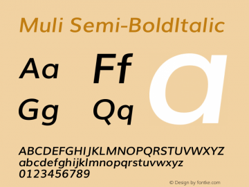 Muli Semi-BoldItalic Version 2.0 Font Sample