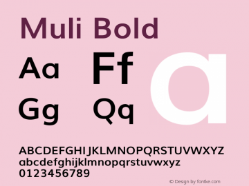 Muli Bold Version 2 Font Sample