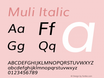 Muli Italic Version 2.0 Font Sample