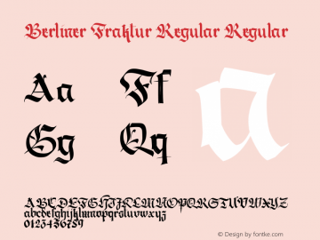Berliner Fraktur Regular Regular Version 1.003 2014 Font Sample