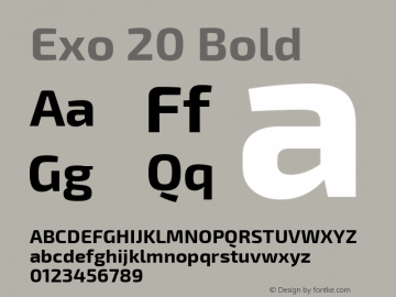 Exo 20 Bold Version 1.001;PS 001.001;hotconv 1.0.70;makeotf.lib2.5.58329 Font Sample