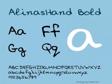 AlinasHand Bold WSI: 1/10/98 Font Sample