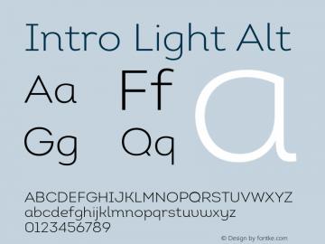 Intro Light Alt Version 1.000 Font Sample