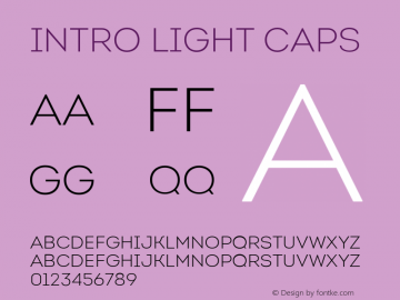 Intro Light Caps Version 1.000 Font Sample