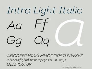 Intro Light Italic Version 1.000 Font Sample