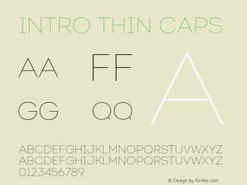Intro Thin Caps Version 1.000 Font Sample