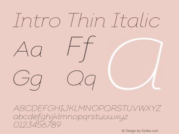 Intro Thin Italic Version 1.000 Font Sample