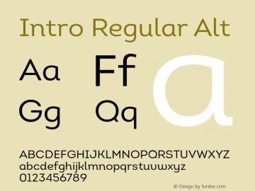 Intro Regular Alt Version 1.000 Font Sample