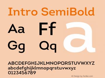 Intro SemiBold Version 1.000 Font Sample