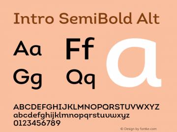 Intro SemiBold Alt Version 1.000 Font Sample