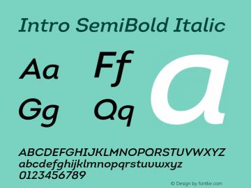 Intro SemiBold Italic Version 1.000 Font Sample