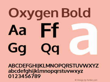 Oxygen Bold Version 0.2 Font Sample