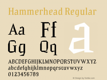 Hammerhead Regular Version 001.000 Font Sample