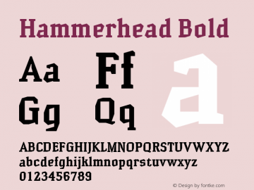 Hammerhead Bold Version 001.000 Font Sample