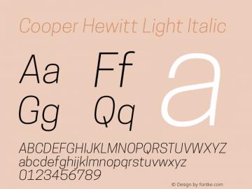 Cooper Hewitt Light Italic 1.000 Font Sample