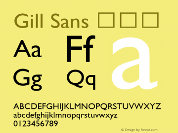 Gill Sans 细斜体 9.0d6e1 Font Sample