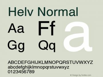 Helv Normal 1.000 Font Sample