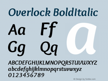 Overlock BoldItalic Version 1.001 Font Sample