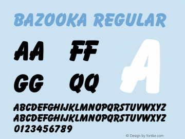 Bazooka Regular Altsys Fontographer 3.5  5/26/92 Font Sample