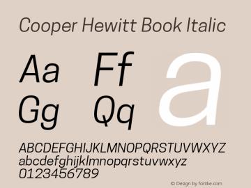 Cooper Hewitt Book Italic 1.000 Font Sample