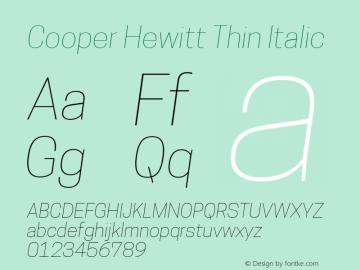 Cooper Hewitt Thin Italic 1.000 Font Sample