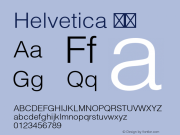 Helvetica 细体 9.0d3e2 Font Sample
