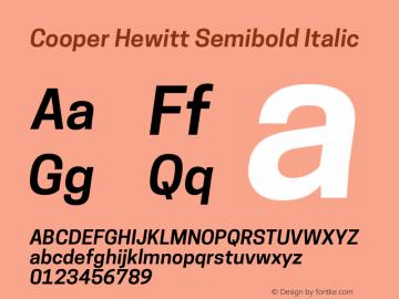 Cooper Hewitt Semibold Italic 1.000 Font Sample