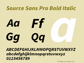 Source Sans Pro Bold Italic Version 1.065;PS Version 2.0;hotconv 1.0.78;makeotf.lib2.5.61930 Font Sample