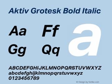 Aktiv Grotesk Bold Italic Version 1.002 Font Sample