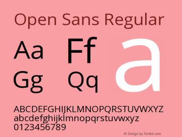 Open Sans Regular Version 1.10 Font Sample