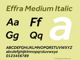 Effra Medium Italic Version 1.112 Font Sample