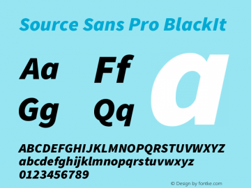 Source Sans Pro BlackIt Version 2.0 Font Sample