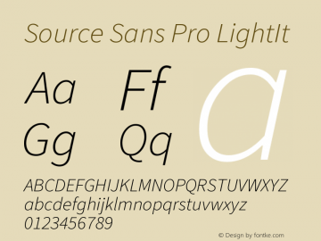 Source Sans Pro LightIt Version 2.0 Font Sample