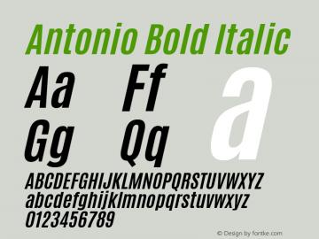 Antonio Bold Italic Version 1.000 Font Sample